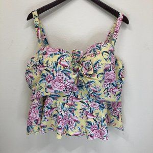 Torrid floral ruffle swimsuit top size 4R